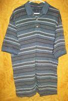 Nice Mens Dockers Golf Shirt, sz L,  Blue, Mercerized Cotton, Striped Polo Shirt
