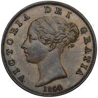 1854 HALFPENNY - VICTORIA BRITISH COPPER COIN - V NICE