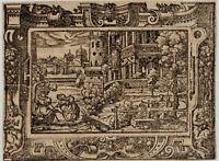 BATHSEBA im BAD Original Virgil SOLIS Ornament Holzschnitt um 1560 König DAVID