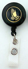 PRAYING HANDS Retractable ID Card Badge Reel Holder/Key Chain Ring Religious