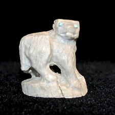 """Zuni Fetish by Max Laate, Antler Wolf with Turquoise Eyes, 1 5/8"""" tall"""