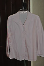 Chico's Pastel Pink and White Striped No-Iron Long Sleeve Blouse- 2 (= reg. size