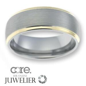 Herren Ring aus Wolfram/Tungsten ohne Stein/bicolor ATW014.01