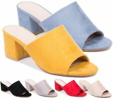 30895dbfb9bc WOMENS MULE SHOES SLIP ON FAUX SUEDE OPEN BACK PEEP TOE SUMMER SLIDER  SANDALS