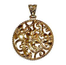 Completamente Marchiato Argento Sterling & Placcato Oro Pendente Fiore Fantasia Aperta