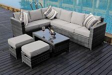 NEW Conservatory MODULAR 8 Seater Rattan Corner Sofa Set Garden Furniture grey