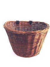 Vtg Antique Primitive Wicker Bicycle Basket D Shaped bike handlebar woven