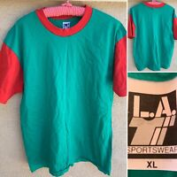 Vintage LA T Sportswear Color Block T-Shirt USA 80s 90s 1980s Single Stitch XL