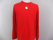 I23 Men's Apple Logo Long Sleeve Red Crewneck Shirt 100% Cotton L