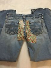 BIG STAR Jeans Casey 28 L Long Hippie Costume Flare Patched Custom Jeans