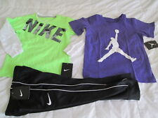 NEW 3Pc NIKE Boys School/Play OUTFIT BLKPants+2 Sewn on Sleeve Tops 4 FREE SHIP!