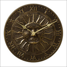 Whitehall Sunface Clock Indoor-Outdoor French Bronze w/ Battery Ships in 3 Days!