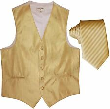 """Men's Vertical stripes Tuxedo Vest Waistcoat & 2.5"""" Skinny Slim Tie Gold"""