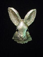"""JJ"" Jonette Jewelry Antique Gold Pewter 'Beautiful RABBIT Head' Pin"