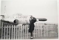 Vintage Real Photo 1960 Man In Front Of U.S. Air Force Plane Jet Black&White