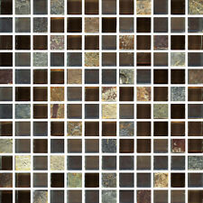 Salvador Square - 12X12X3/8 Mesh Mounted Glass & Stone Mosaic Tile (pic w/grout)