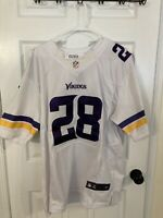 Nike NFL On Field Vikings 28 Peterson Jersey Men's Size 48 White Embroidered