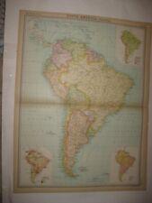 LARGE ANTIQUE 1922 SOUTH AMERICA POLITICAL MAP MARITIME RACE POPULATION SUPERB N
