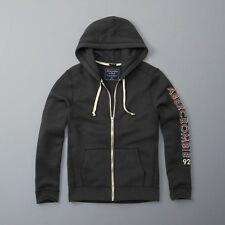 New Abercrombie & Fitch Mens Dark Gray Full Zip Logo Sweatshirt Hoodie Small