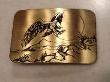 Vintage Great American Buckle Co Brass Engraved Etched Eagle Motif Free shipping
