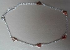 "clad 5 Heart Ankle Bracelet 9""-10"" New Qvc Sterling/Platinum clad Rose Gold"