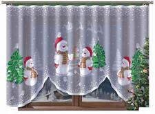 "Novelty Christmas Net Curtain Snowmen 300cm x160cm 118""x 63"" Window Decoration"