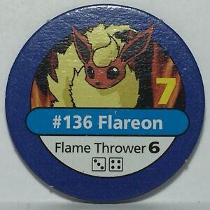 1999 Pokémon Master Trainer Board Game * Part / Piece * Blue Chip #136 Flareon