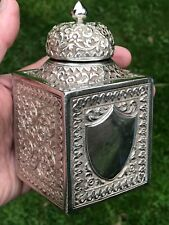 Antiguo Plata Tea Caddy. INDIA ESTILO MUGHAL. Kutch 1890. 316 gramos.