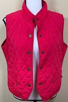 Talbots Outerwear Vest Medium Petite Red Quilted Knit Sides Mandarin Collar