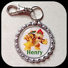 PERSONALIZED Name BOWSER MARIO  Bottle Cap Pendant Zipper Pull Clip ID Wii U 64
