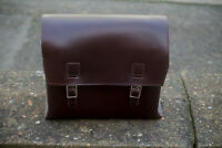 Large Genuine Leather Bike Bag Box Saddle/Handlebar DARK BURGUNDY