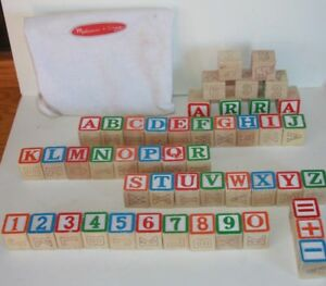 48 Melissa & Doug Colorful Wooden Alphabet & Number Blocks With Storage Bag