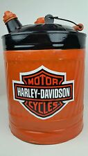 Vtg 5 Gallon Metal Oil Gas Can Restored In Harley Davidson Motorcycles Man Cave