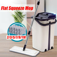 Flat Squeeze Mop + Bucket Easy Floor Cleaning Hand Free Wringing Microfibe