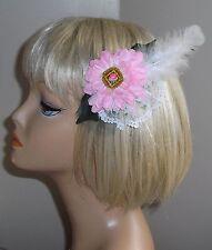 OOAK Handmade flower, Feather, Lace, Net, Barrette Hairpiece