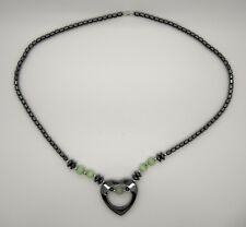 "Lime Green Cat's Eye Beads 22"" Black Hematite Heart Necklace With"