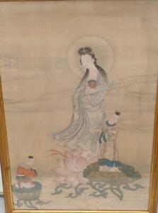 Antique Chinese 18th 19th C. Silk Guanyin Boys Lotus Painting Qing Framed