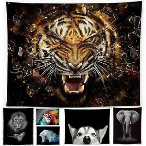 Animal Tiger Lion Tapestry Wall Hanging Mandala Bedspread Throw Blanket Decor