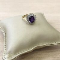 Solid 14k gold and diamond oval amethyst vintage style halo engagement ring