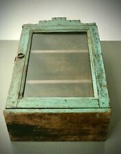 ANTIQUE VINTAGE INDIAN CABINET. ART DECO. DISPLAY / BATHROOM. MUTED TURQUOISE.