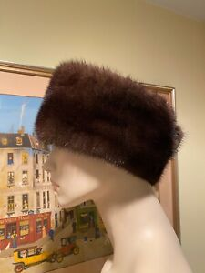 Genuine Natural Mahogany Brown Mink FUR Womens Headband Hat Size 6-5/8 X-Small