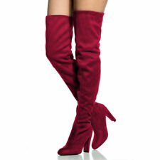 WOMENS LADIES THIGH HIGH BOOTS OVER THE KNEE PARTY STRETCH BLOCK MID HEEL ZIPPER