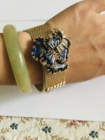 "Vtg HOBE Gold tone Mesh w Beautiful Blue Stones Flower Bracelet 8"" - Wide 0.75"""