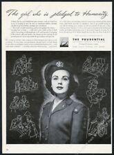 1944 US Cadet Nurse photo Prudential Insurance vintage print ad