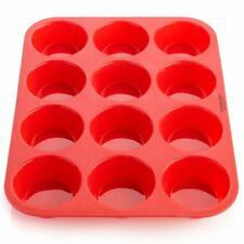 12 Cup Silicone Muffin Pan  Cupcake Tin 100% Bakeware Non Stick Easy Clean Cups