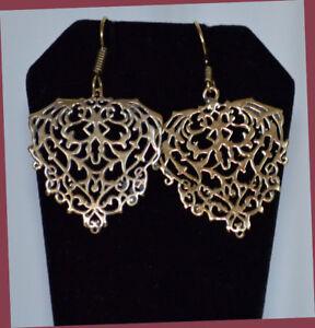 Filigree Gold Tone Drop Earrings Handmade Fashion Jewelry from India