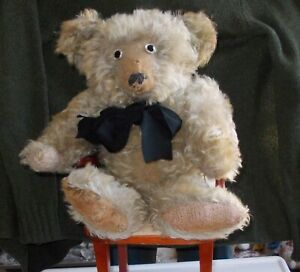 RARE  ANTIQUE MUSICAL HELVETIC TEDDY BEAR CIRCA 1930 18 INCHES