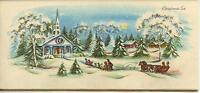 VINTAGE CHRISTMAS FOLK ART VILLAGE CHURCH SNOW STORM HORSE SLEIGH CARD PRINT