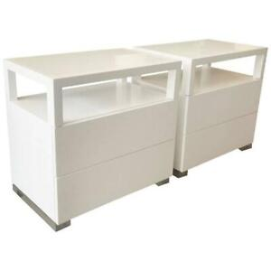 Pair of White Lacquer and Lucite Nightstands by Cain Modern