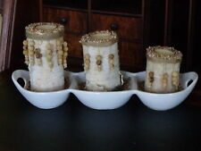 Birch Log Candle Holder Centerpiece (3 logs, glass votive candle holders/candle)